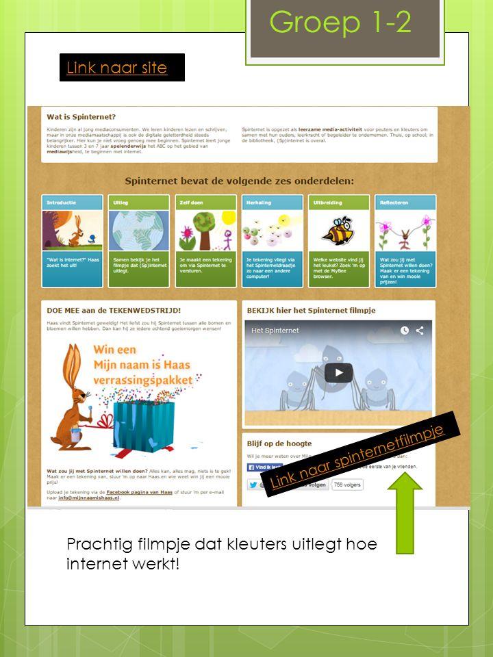 Groep 1-2 Link naar site Link naar spinternetfilmpje Prachtig filmpje dat kleuters uitlegt hoe internet werkt!