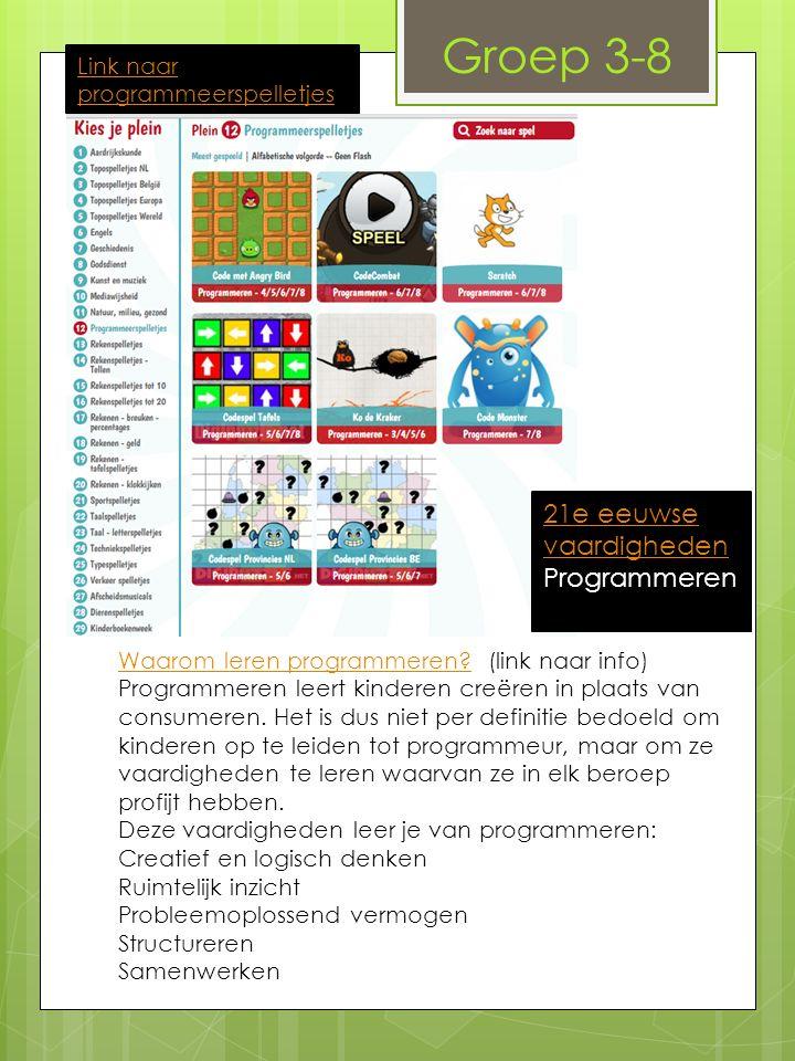 Link naar programmeerspelletjes Groep 3-8 Waarom leren programmeren Waarom leren programmeren.