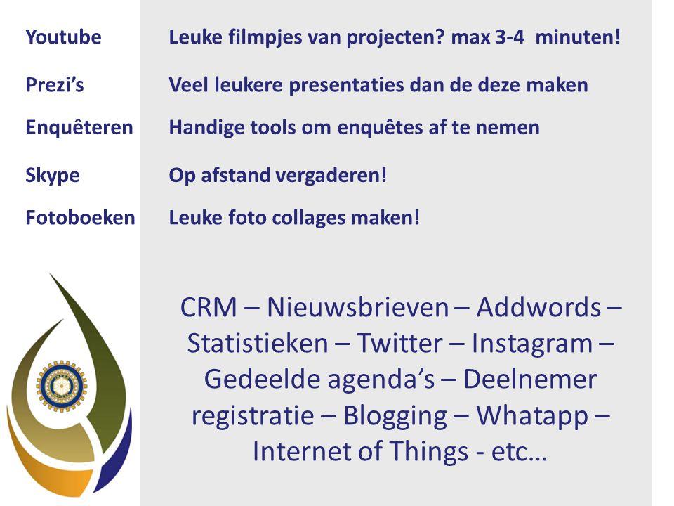 CRM – Nieuwsbrieven – Addwords – Statistieken – Twitter – Instagram – Gedeelde agenda's – Deelnemer registratie – Blogging – Whatapp – Internet of Things - etc… YoutubeLeuke filmpjes van projecten.