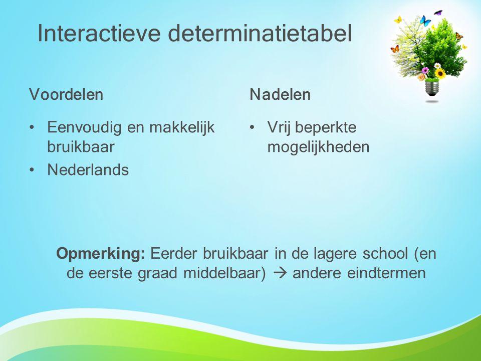 Voordelen Eenvoudig en makkelijk bruikbaar Nederlands Nadelen Vrij beperkte mogelijkheden Interactieve determinatietabel Opmerking: Eerder bruikbaar i
