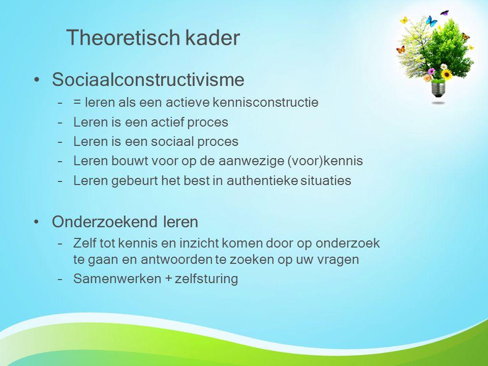 Theoretisch kader Sociaalconstructivisme –= leren als een actieve kennisconstructie –Leren is een actief proces –Leren is een sociaal proces –Leren bo