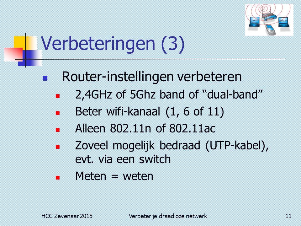 HCC Zevenaar 2015Verbeter je draadloze netwerk11 Verbeteringen (3) Router-instellingen verbeteren 2,4GHz of 5Ghz band of dual-band Beter wifi-kanaal (1, 6 of 11) Alleen 802.11n of 802.11ac Zoveel mogelijk bedraad (UTP-kabel), evt.