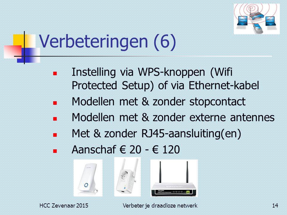 HCC Zevenaar 2015Verbeter je draadloze netwerk14 Verbeteringen (6) Instelling via WPS-knoppen (Wifi Protected Setup) of via Ethernet-kabel Modellen met & zonder stopcontact Modellen met & zonder externe antennes Met & zonder RJ45-aansluiting(en) Aanschaf € 20 - € 120