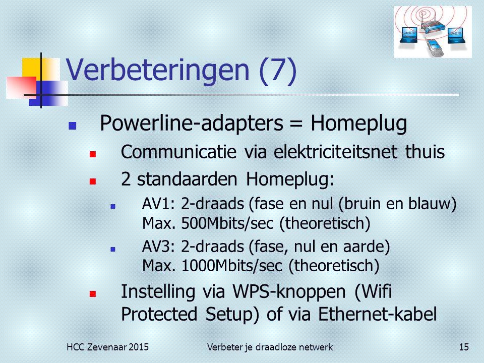 HCC Zevenaar 2015Verbeter je draadloze netwerk15 Verbeteringen (7) Powerline-adapters = Homeplug Communicatie via elektriciteitsnet thuis 2 standaarde