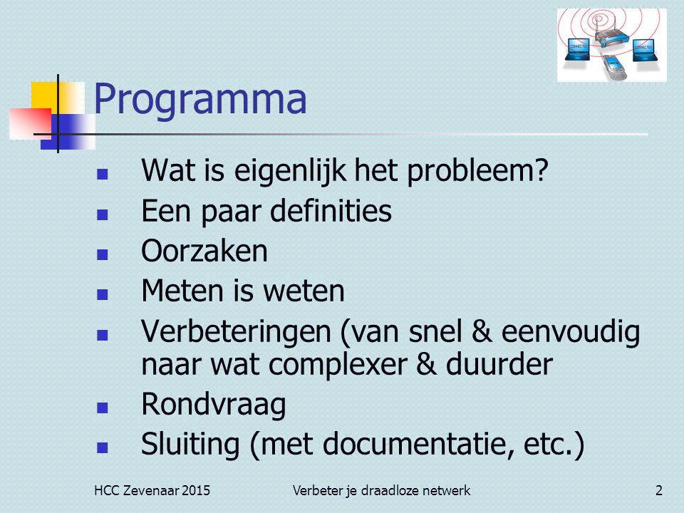 HCC Zevenaar 2015Verbeter je draadloze netwerk2 Programma Wat is eigenlijk het probleem? Een paar definities Oorzaken Meten is weten Verbeteringen (va