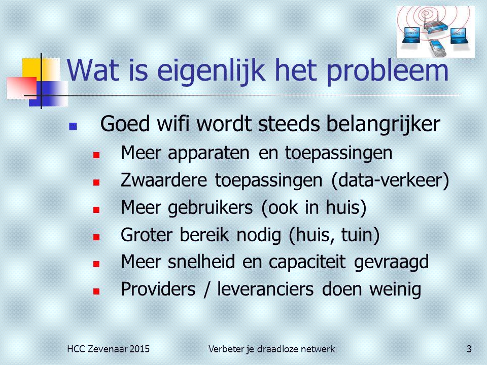 HCC Zevenaar 2015Verbeter je draadloze netwerk3 Wat is eigenlijk het probleem Goed wifi wordt steeds belangrijker Meer apparaten en toepassingen Zwaar
