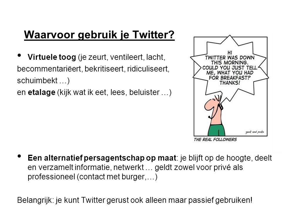 Waarvoor gebruik je Twitter.