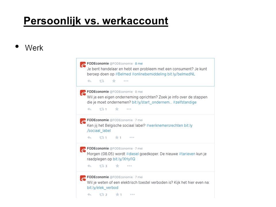 Persoonlijk vs. werkaccount Werk