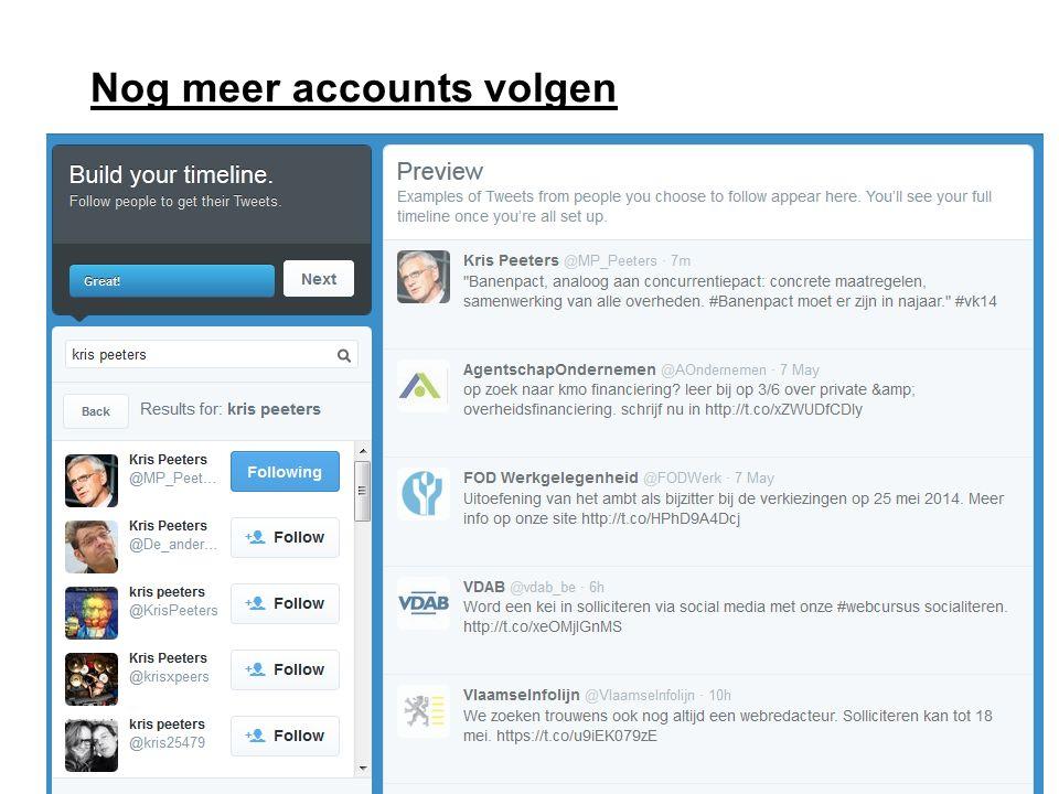 Nog meer accounts volgen