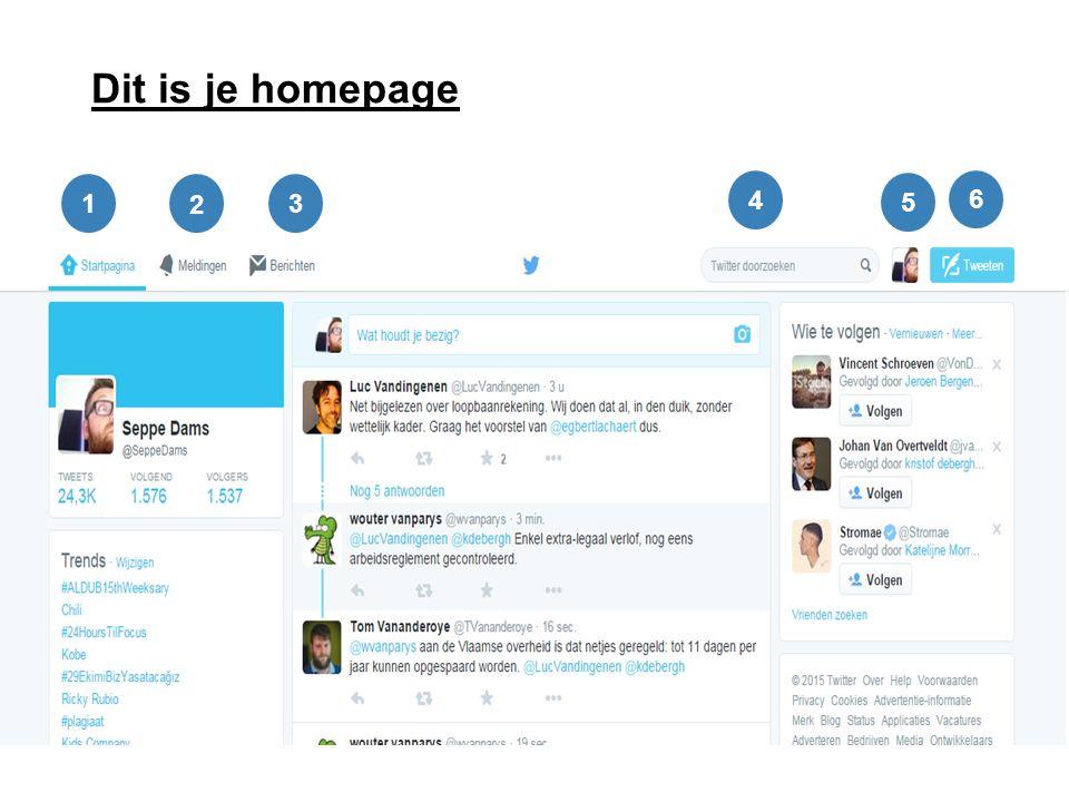 Dit is je homepage Klik op 'compose new tweet': je kunt meteen foto's en locatie toevoegen 1 2 3 4 6 5