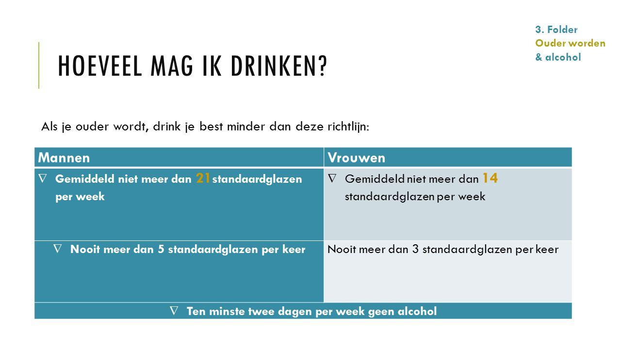 Als je ouder wordt, drink je best minder dan deze richtlijn: MannenVrouwen  Gemiddeld niet meer dan 21 standaardglazen per week  Gemiddeld niet meer
