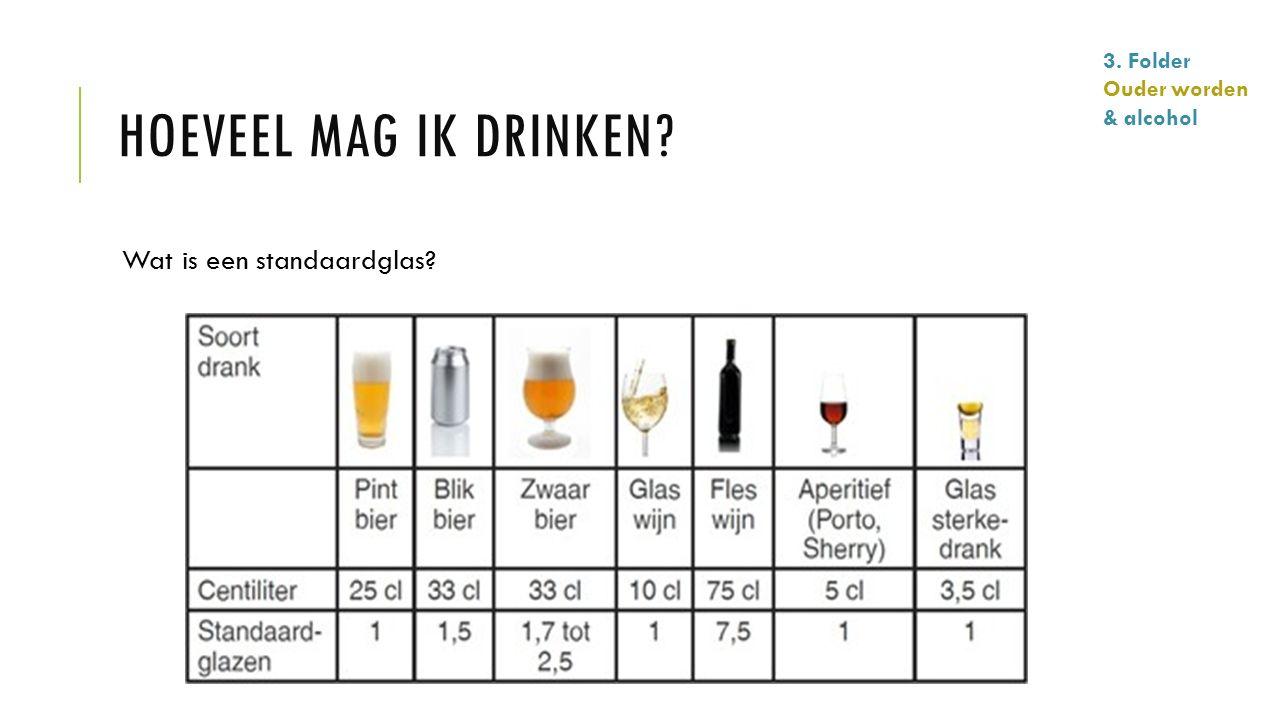 HOEVEEL MAG IK DRINKEN? Wat is een standaardglas? 3. Folder Ouder worden & alcohol