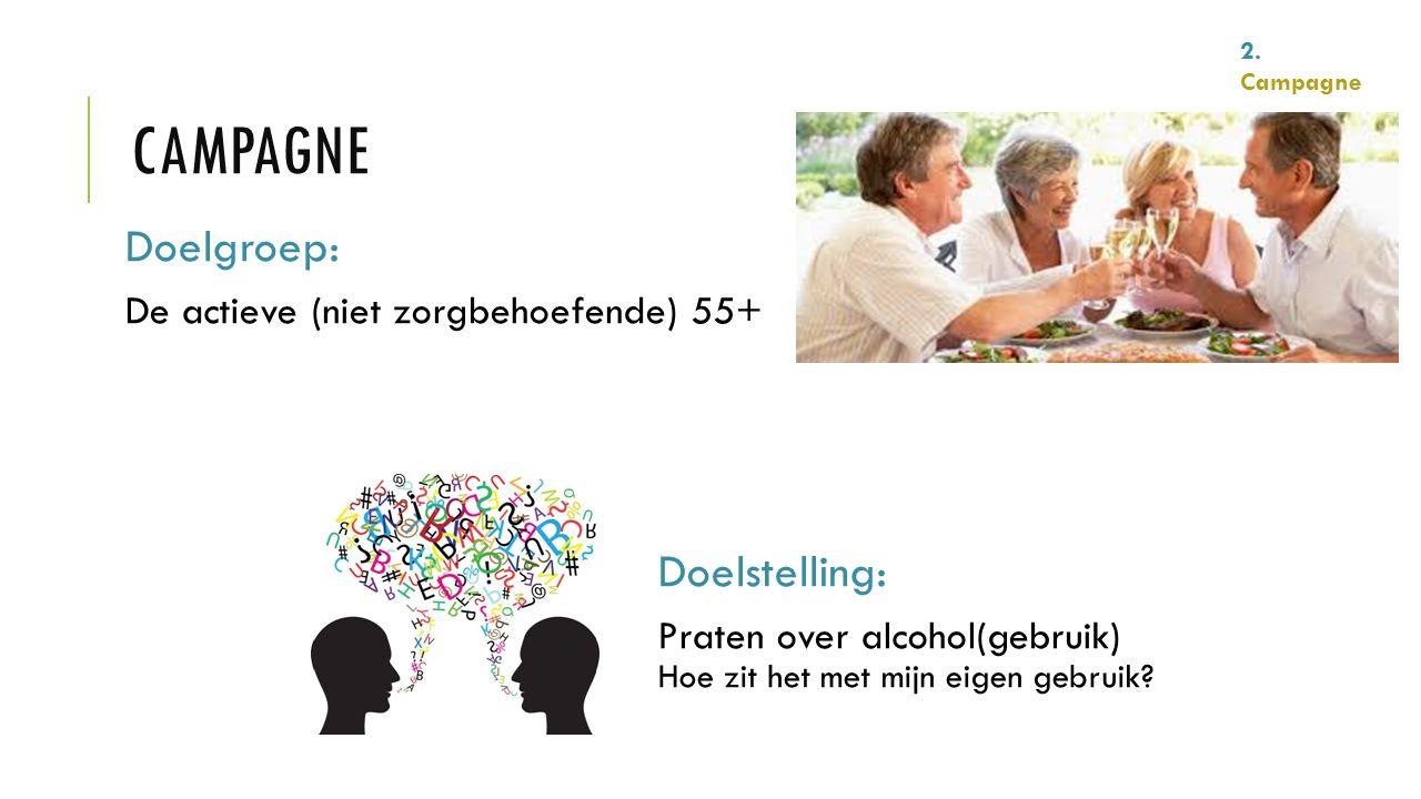 Doelgroep: De actieve (niet zorgbehoefende) 55+ Doelstelling: Praten over alcohol(gebruik) Hoe zit het met mijn eigen gebruik? 2. Campagne