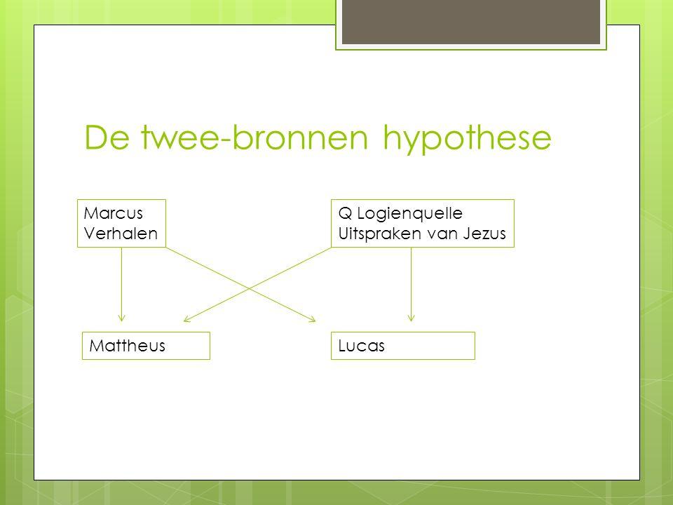 De twee-bronnen hypothese Marcus Verhalen Q Logienquelle Uitspraken van Jezus MattheusLucas