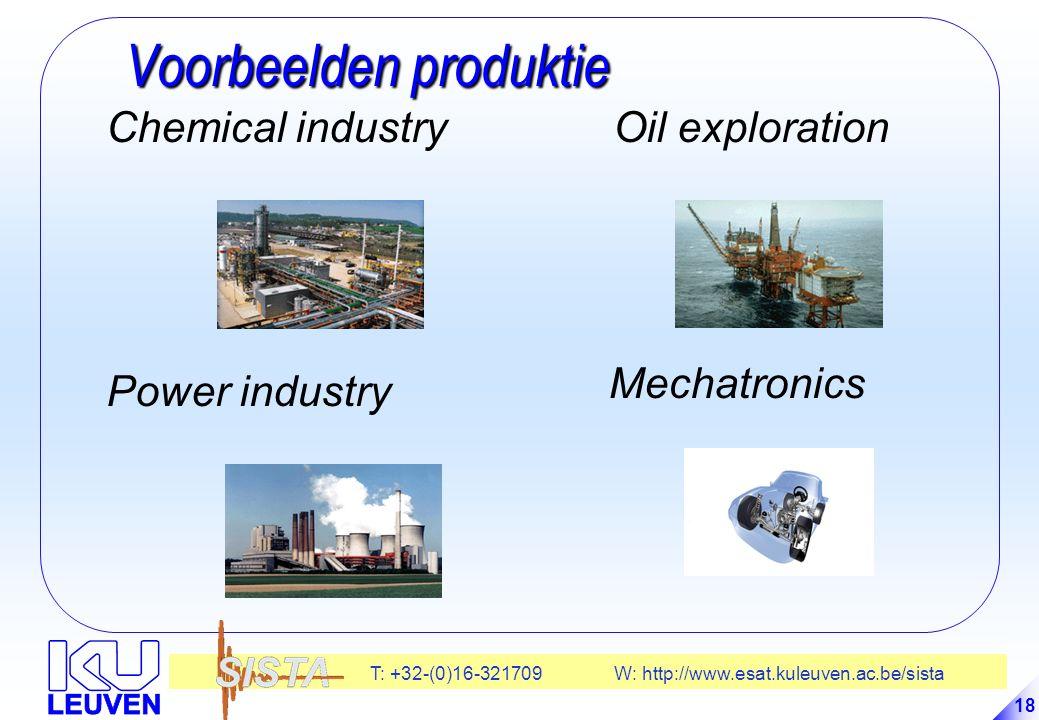 T: +32-(0)16-321709 W: http://www.esat.kuleuven.ac.be/sista 18 Voorbeelden produktie Voorbeelden produktie Chemical industry Power industry Oil exploration Mechatronics