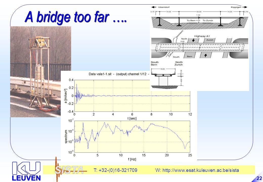 T: +32-(0)16-321709 W: http://www.esat.kuleuven.ac.be/sista 22 A bridge too far ….