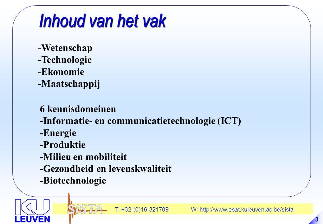 T: +32-(0)16-321709 W: http://www.esat.kuleuven.ac.be/sista 74 Technologie-deficit Technologie-deficit -Valorisatie van onderzoek: De Europese paradox: Europa doet teveel onderzoek met zijn achterdeur open .