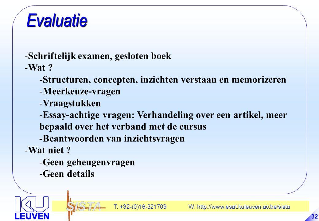 T: +32-(0)16-321709 W: http://www.esat.kuleuven.ac.be/sista 32 Evaluatie Evaluatie -Schriftelijk examen, gesloten boek -Wat .