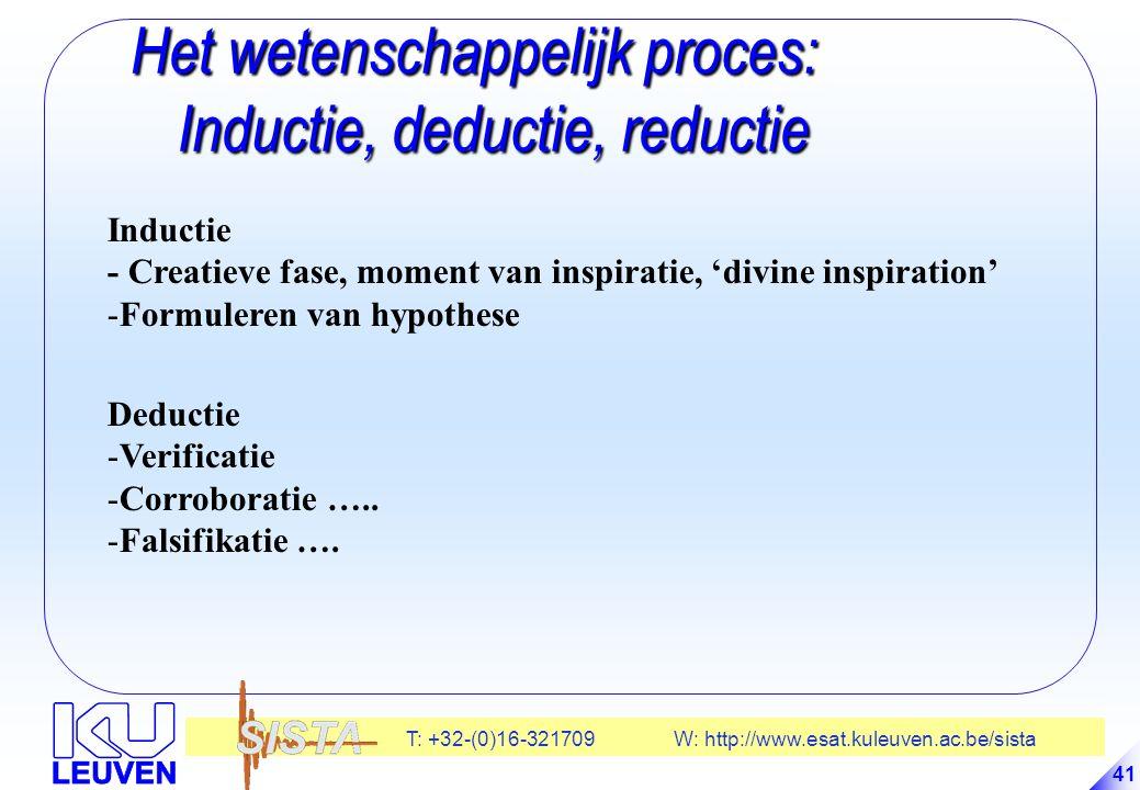 T: +32-(0)16-321709 W: http://www.esat.kuleuven.ac.be/sista 41 Het wetenschappelijk proces: Inductie, deductie, reductie Het wetenschappelijk proces: Inductie, deductie, reductie Inductie - Creatieve fase, moment van inspiratie, 'divine inspiration' -Formuleren van hypothese Deductie -Verificatie -Corroboratie …..