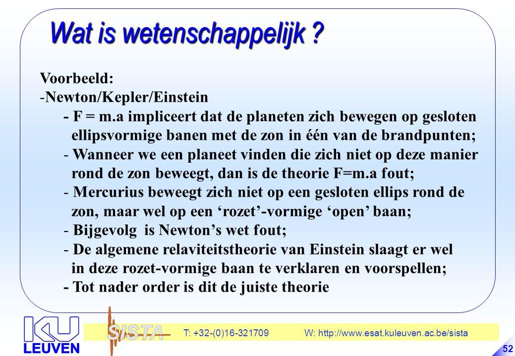 T: +32-(0)16-321709 W: http://www.esat.kuleuven.ac.be/sista 52 Wat is wetenschappelijk .