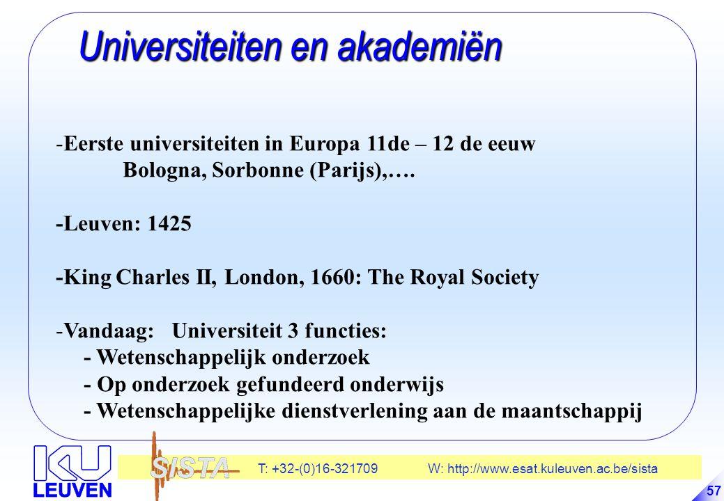 T: +32-(0)16-321709 W: http://www.esat.kuleuven.ac.be/sista 57 Universiteiten en akademiën Universiteiten en akademiën -Eerste universiteiten in Europa 11de – 12 de eeuw Bologna, Sorbonne (Parijs),….