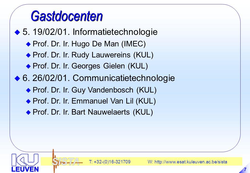 T: +32-(0)16-321709 W: http://www.esat.kuleuven.ac.be/sista 38 Inventariseren en systematizeren Inventariseren en systematizeren -Plantenklassifikatie-systeem door Linnaeus -Allesomvattende L'encyclopédie van Diderot -Periodieke tabel van elementen van Mendeljev -Inventarisatie van de fysiologie van mens en dier -Enz….