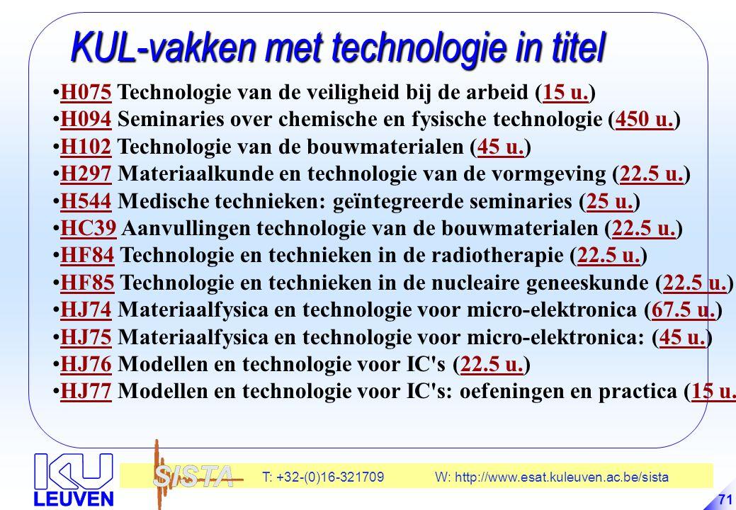 T: +32-(0)16-321709 W: http://www.esat.kuleuven.ac.be/sista 71 KUL-vakken met technologie in titel KUL-vakken met technologie in titel H075 Technologie van de veiligheid bij de arbeid (15 u.)H07515 u.