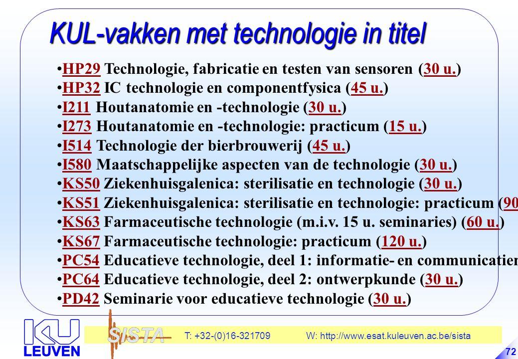 T: +32-(0)16-321709 W: http://www.esat.kuleuven.ac.be/sista 72 KUL-vakken met technologie in titel KUL-vakken met technologie in titel HP29 Technologie, fabricatie en testen van sensoren (30 u.)HP2930 u.