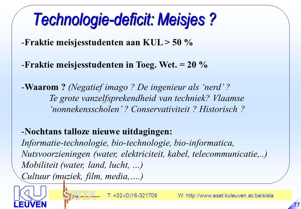 T: +32-(0)16-321709 W: http://www.esat.kuleuven.ac.be/sista 77 Technologie-deficit: Meisjes .