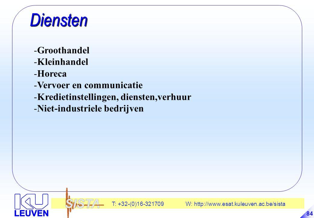 T: +32-(0)16-321709 W: http://www.esat.kuleuven.ac.be/sista 84 Diensten Diensten -Groothandel -Kleinhandel -Horeca -Vervoer en communicatie -Kredietinstellingen, diensten,verhuur -Niet-industriele bedrijven
