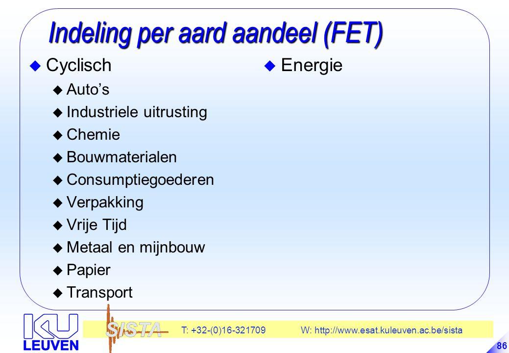 T: +32-(0)16-321709 W: http://www.esat.kuleuven.ac.be/sista 86 Indeling per aard aandeel (FET) Indeling per aard aandeel (FET) u Cyclisch u Auto's u Industriele uitrusting u Chemie u Bouwmaterialen u Consumptiegoederen u Verpakking u Vrije Tijd u Metaal en mijnbouw u Papier u Transport u Energie