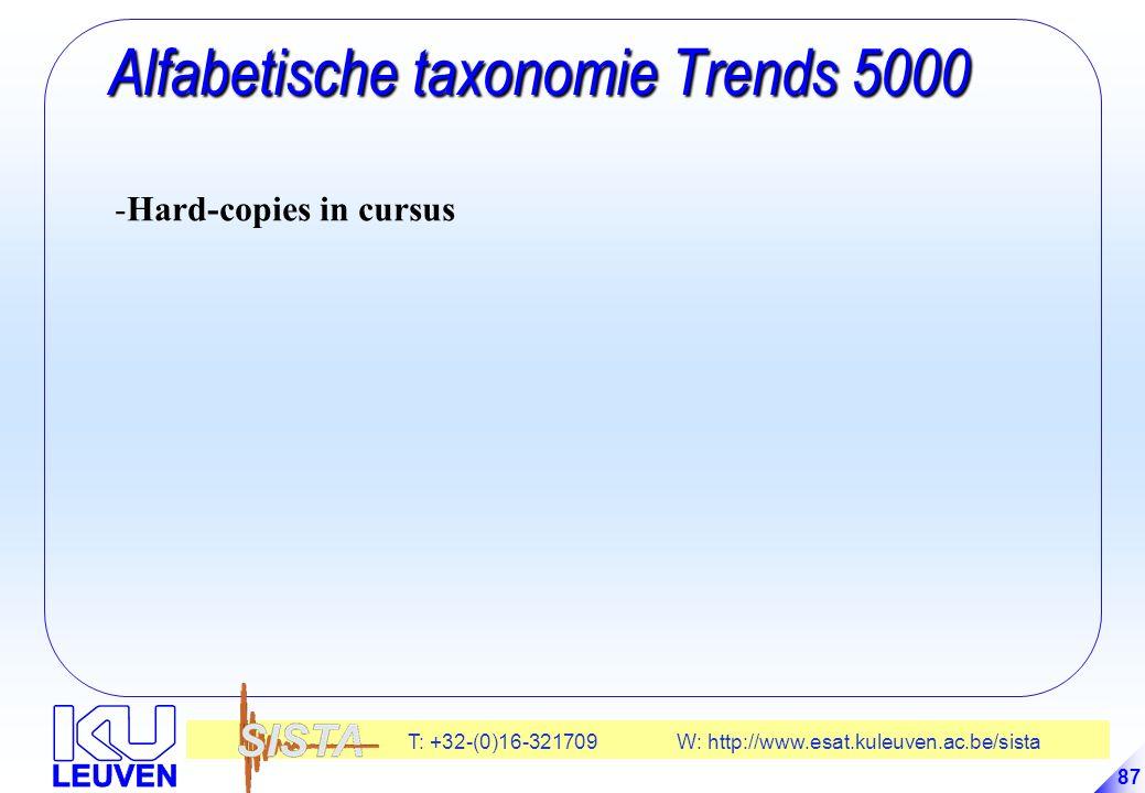 T: +32-(0)16-321709 W: http://www.esat.kuleuven.ac.be/sista 87 Alfabetische taxonomie Trends 5000 Alfabetische taxonomie Trends 5000 -Hard-copies in cursus