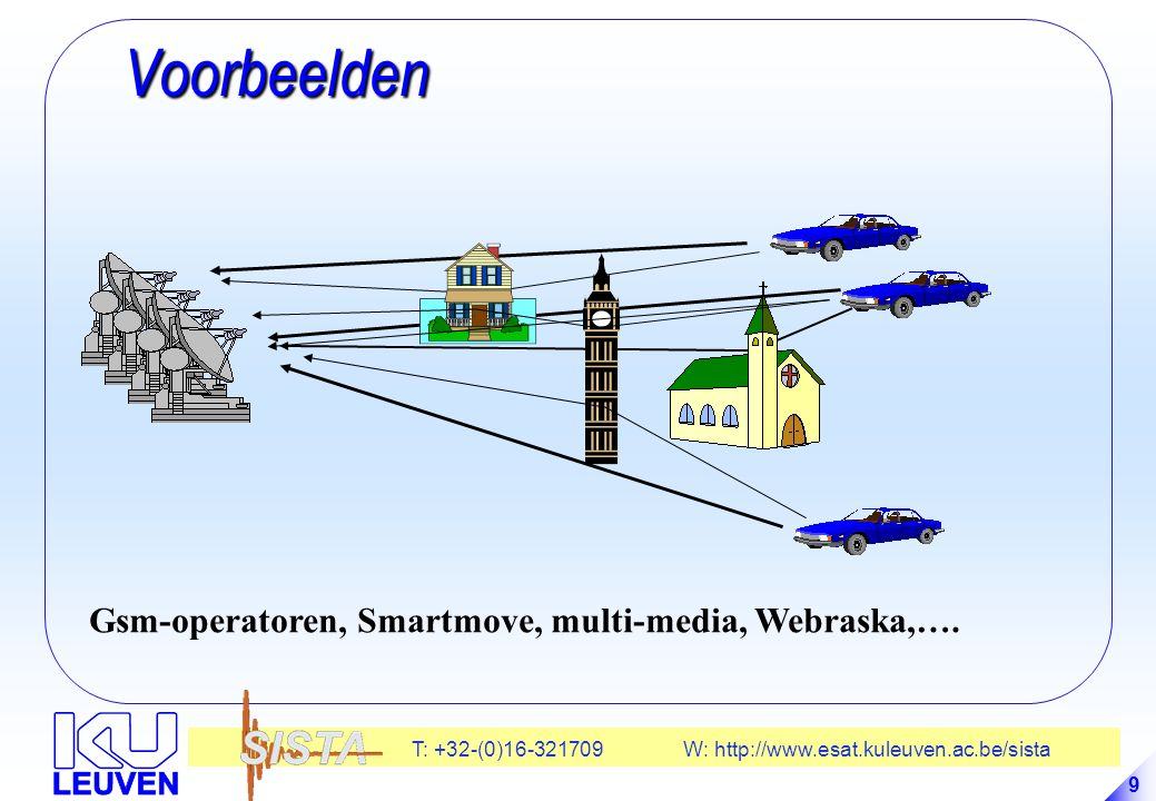 T: +32-(0)16-321709 W: http://www.esat.kuleuven.ac.be/sista 9 Voorbeelden Voorbeelden Gsm-operatoren, Smartmove, multi-media, Webraska,….