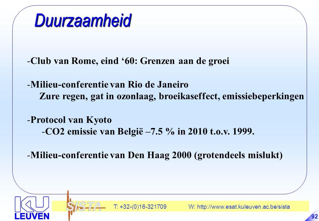T: +32-(0)16-321709 W: http://www.esat.kuleuven.ac.be/sista 92 Duurzaamheid Duurzaamheid -Club van Rome, eind '60: Grenzen aan de groei -Milieu-conferentie van Rio de Janeiro Zure regen, gat in ozonlaag, broeikaseffect, emissiebeperkingen -Protocol van Kyoto -CO2 emissie van België –7.5 % in 2010 t.o.v.