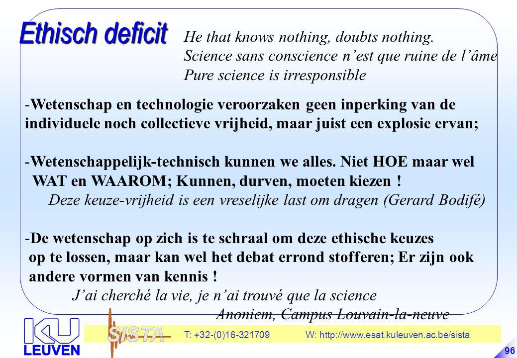 T: +32-(0)16-321709 W: http://www.esat.kuleuven.ac.be/sista 96 Ethisch deficit Ethisch deficit -Wetenschap en technologie veroorzaken geen inperking van de individuele noch collectieve vrijheid, maar juist een explosie ervan; -Wetenschappelijk-technisch kunnen we alles.