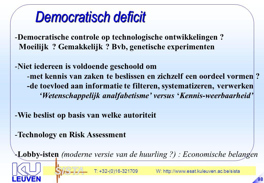 T: +32-(0)16-321709 W: http://www.esat.kuleuven.ac.be/sista 98 Democratisch deficit Democratisch deficit -Democratische controle op technologische ontwikkelingen .
