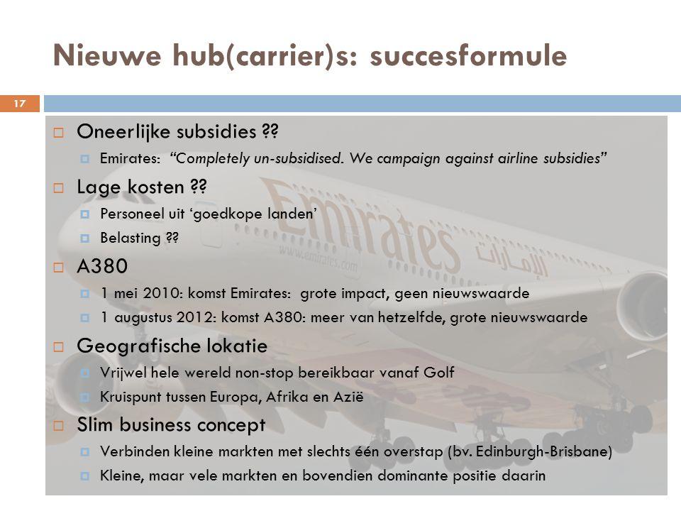 Nieuwe hub(carrier)s: succesformule  Oneerlijke subsidies ?.
