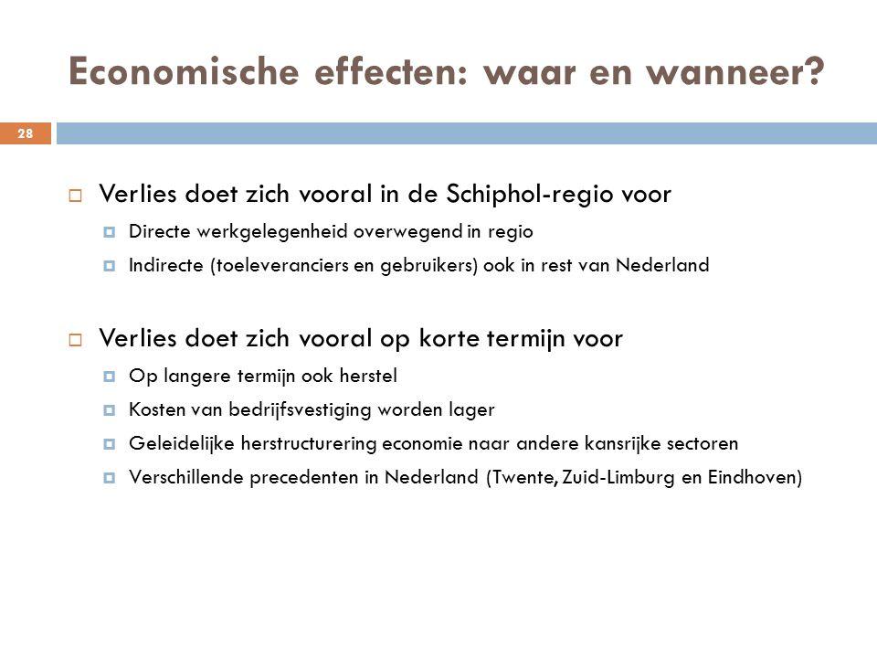 Economische effecten: waar en wanneer.