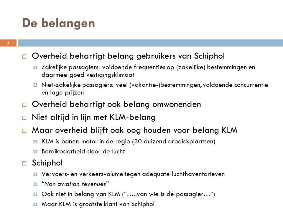De belangen  Overheid behartigt belang gebruikers van Schiphol  Zakelijke passagiers: voldoende frequenties op (zakelijke) bestemmingen en daarmee goed vestigingsklimaat  Niet-zakelijke passagiers: veel (vakantie-)bestemmingen, voldoende concurrentie en lage prijzen  Overheid behartigt ook belang omwonenden  Niet altijd in lijn met KLM-belang  Maar overheid blijft ook oog houden voor belang KLM  KLM is banen-motor in de regio (30 duizend arbeidsplaatsen)  Bereikbaarheid door de lucht  Schiphol  Vervoers- en verkeersvolume tegen adequate luchthaventarieven  Non aviation revenues  Ook niet in belang van KLM ( …..van wie is de passagier… )  Maar KLM is grootste klant van Schiphol 5