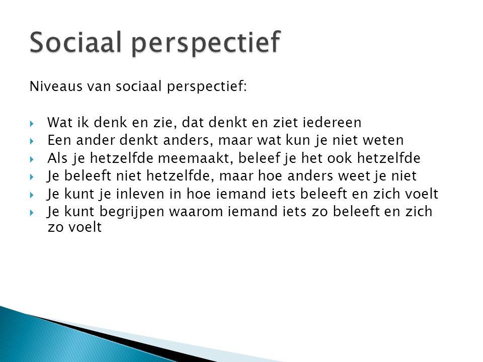 Niveaus van sociaal perspectief:  Wat ik denk en zie, dat denkt en ziet iedereen  Een ander denkt anders, maar wat kun je niet weten  Als je hetzel