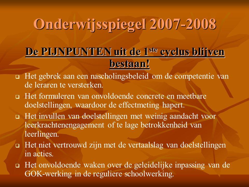 Onderwijsspiegel 2007-2008 De PIJNPUNTEN uit de 1 ste cyclus blijven bestaan.