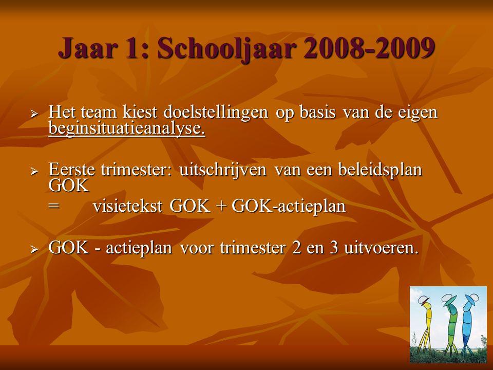Jaar 1: Schooljaar 2008-2009  Het team kiest doelstellingen op basis van de eigen beginsituatieanalyse.  Eerste trimester: uitschrijven van een bele