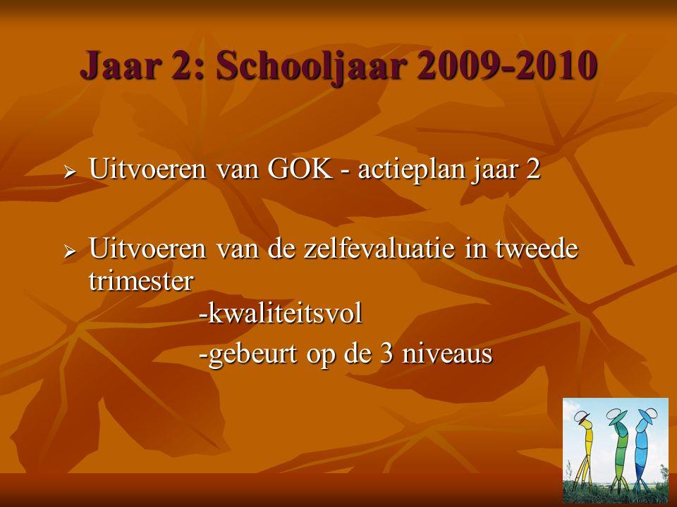 Jaar 2: Schooljaar 2009-2010  Uitvoeren van GOK - actieplan jaar 2  Uitvoeren van de zelfevaluatie in tweede trimester -kwaliteitsvol -gebeurt op de 3 niveaus -gebeurt op de 3 niveaus