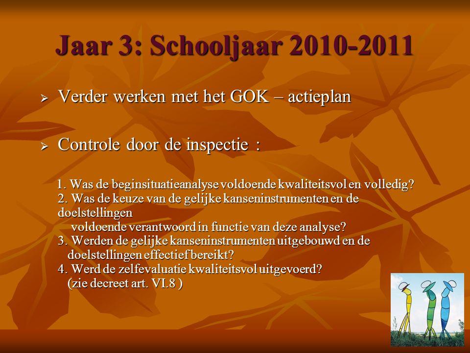 Jaar 3: Schooljaar 2010-2011  Verder werken met het GOK – actieplan  Controle door de inspectie : 1. Was de beginsituatieanalyse voldoende kwaliteit