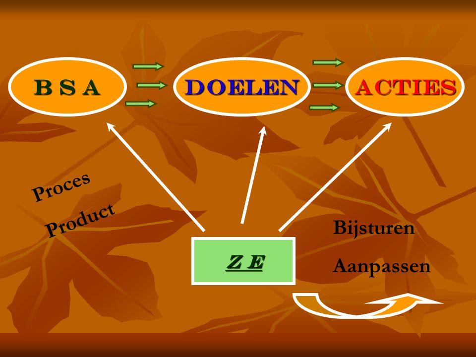B S A DOELENACTIES Z E Bijsturen Aanpassen Proces Product