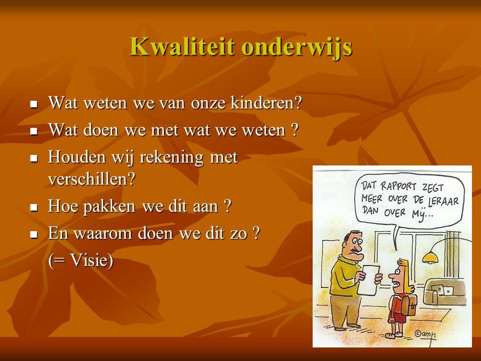 Kwaliteit onderwijs Wat weten we van onze kinderen? Wat weten we van onze kinderen? Wat doen we met wat we weten ? Wat doen we met wat we weten ? Houd