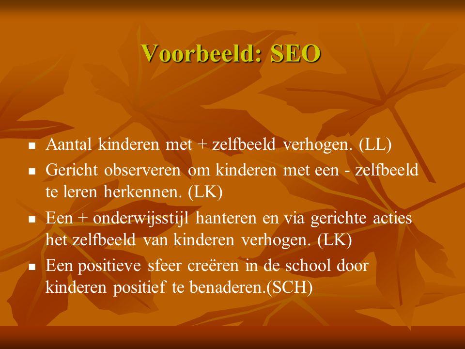 Voorbeeld: SEO Aantal kinderen met + zelfbeeld verhogen. (LL) Gericht observeren om kinderen met een - zelfbeeld te leren herkennen. (LK) Een + onderw