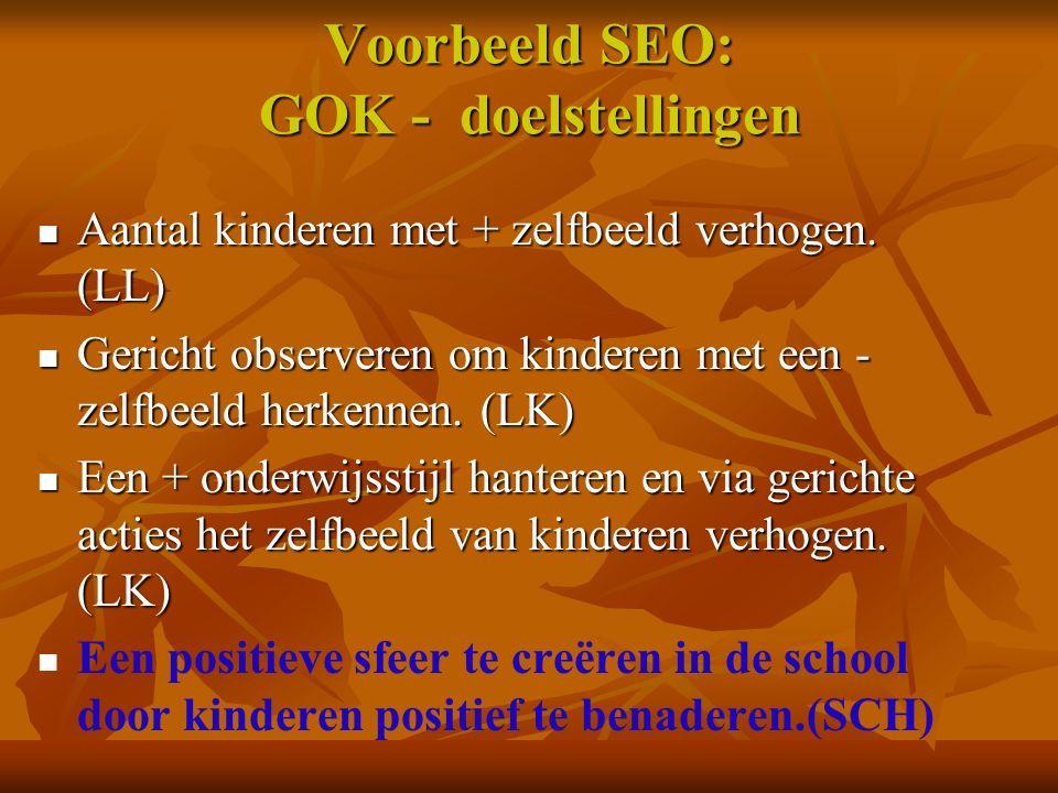 Voorbeeld SEO: GOK - doelstellingen Aantal kinderen met + zelfbeeld verhogen. (LL) Aantal kinderen met + zelfbeeld verhogen. (LL) Gericht observeren o