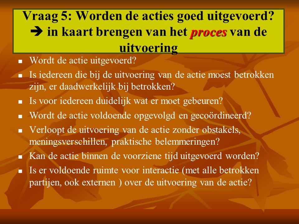 proces Vraag 5: Worden de acties goed uitgevoerd?  in kaart brengen van het proces van de uitvoering Wordt de actie uitgevoerd? Is iedereen die bij d