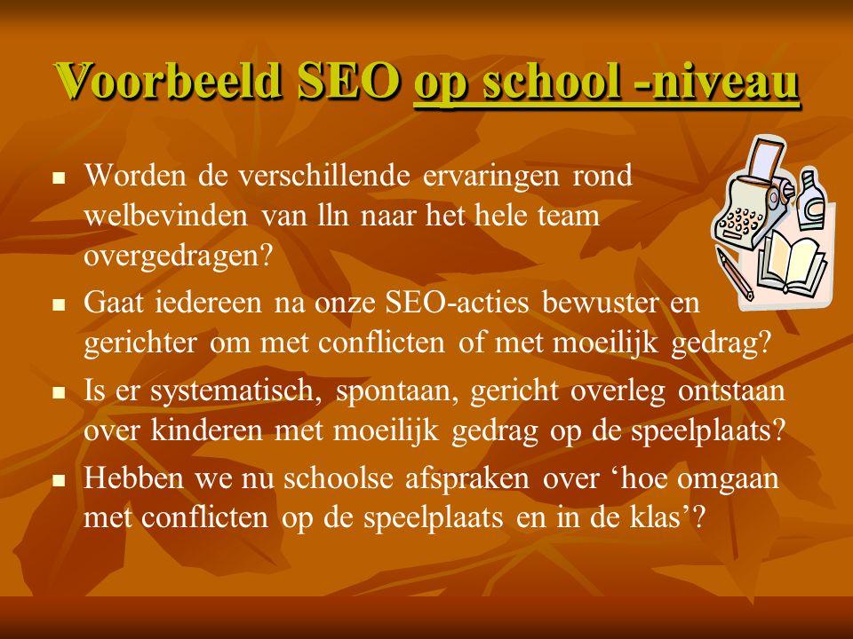 Voorbeeld SEO op school -niveau Worden de verschillende ervaringen rond welbevinden van lln naar het hele team overgedragen.